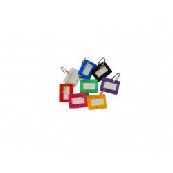 Lot de 8 porte-clés en plastique avec étiquette - forme carrée